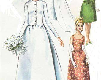 1960s Womens Wedding Gown & Jacket with Train Bridesmaids or Evening Gown McCalls Sewing Pattern 8079 Size 16 Bust 36 FF Vintage Wedding