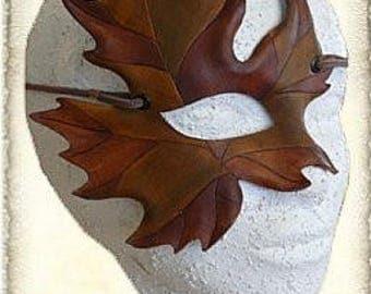 """Leather fantasy mask """"leaf"""""""