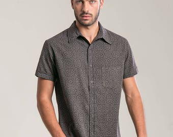 Psychedelic Elegant Shirt Mens Button Up Short Sleeve Shirt Button Down Shirt Trendy Mens Shirt Fathers Day Gift