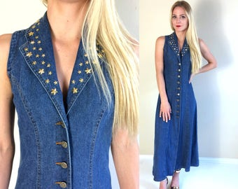 vtg 90s gold STUDDED STAR denim corset lace up Maxi DRESS Small/Medium grunge avant garde hip hop