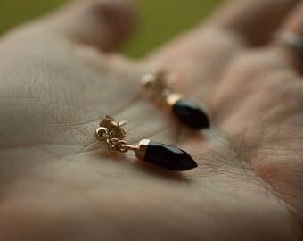 Onyx Point Post Earrings - Dangle Earrings - Minimalist Jewelry - Boho Earrings - Gemstone Jewelry - Statement Earrings - Gift for Her
