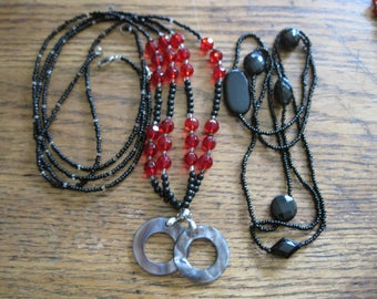 "3 Vintage and Art Deco Red Black Jet 19"" & 24"" Long Glass Faceted Bead Necklaces Mother of Pearl Accents"