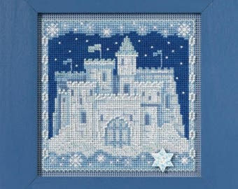 NEW Ice Castle cross stitch kit INCLUDES button beads by Mill Hill at thecottageneedle.com December Christmas