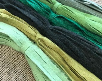 The Greens - 150 #8 Sized Primitive Hand Cut Wool Strips for Rug Hooking