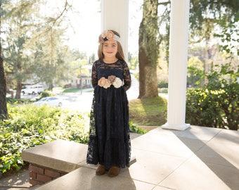 Navy blue flower girl dress, Lace long sleeve flower girl dress, lace flower girl dresses, navy baby dress, toddler dress, rustic girl dress