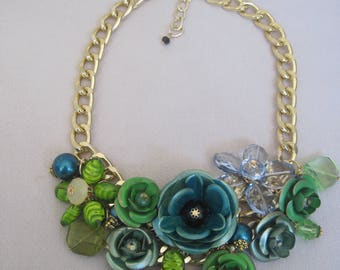 Glorious Shades of Summer Green with Touches of Turquoise Blue n Gold on Metal Roses with Crystal Flowers Bib Necklace