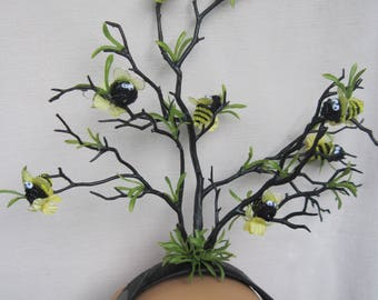 Buzzing Bumble Bee Tree Headdress with Yellow Flowers n Leaves