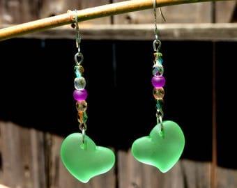 Sea Glass Earrings, Green Heart Earrings, Sea Glass Heart Earrings