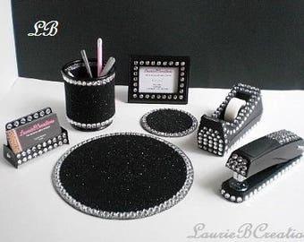 ULTIMATE BLACK & BLING Computer Desk Set - Sparkling Black w/ Clear Rhinestones