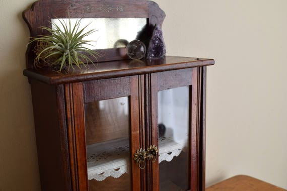 Small Antique Wood Curio Cabinet - Farmhouse, Ecletic Decor, Natural, Curios