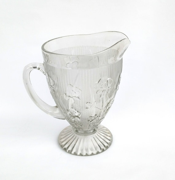 Vintage 1950's Jeannette Iris and Herringbone Pressed Glass Pitcher