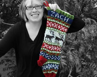 Holiday Stocking Custom Knit Personalized Reindeer Scandinavian design Fair isle knit Christmas Stocking Brown Red Made to Order