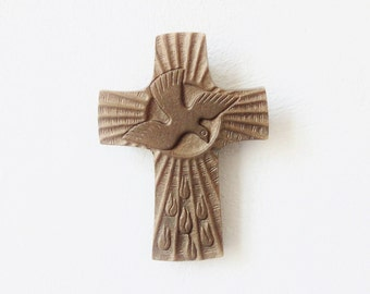 Vintage Brass Cross with Dove
