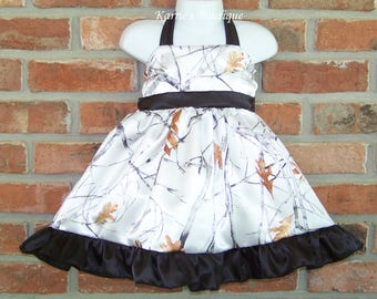 CAMO Flower Girl Dress / Snow Camo + Black / Halter / Satin / Pageant / Wedding / Bridesmaid/ Infant/ Baby/ Girl/ Toddler/ Boutique Clothing