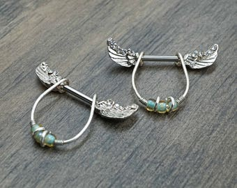 Clear Crystal Angel Wing Nipple Barbell Jewelry