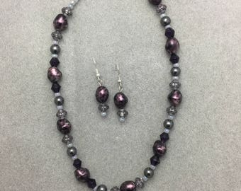 Shades of Purple Necklace and Earring Set