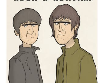 Oasis - Noel and Liam Gallagher - Illustration Print