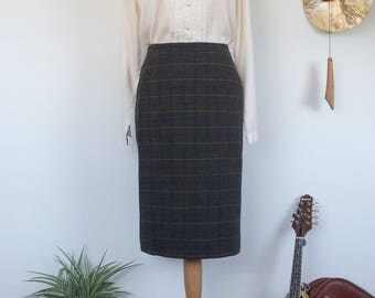 Plaid Tartan Wool Skirt UK 10 , M , US 8