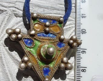 Silver (tested)  Moroccan Cross  small enamel  fibula pendant with points and blue tie