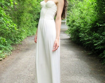 SPRING SALE! breathless -organic bamboo paired with ivory vintage 60's floral lace corset bohemian hippie strapless wedding maxi dress small
