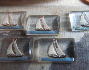 8 Vintage  Reversed Sailboat Painting On Glass -Made In West Germany ...Sail Away With Me
