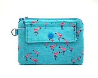 Pink Flamingo Zipper Pouch - Snap Wallet - Coin Purse - Change Purse - Gift idea - Gift for her - Blue Padded Pouch