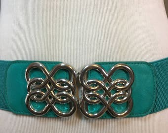 "Vintage Turquoise Stretch Belt with Turquoise Leather Trim and Silver Belt Buckle Ladies Medium to Large 2.5""  Wide 32.25"" Long to 45 Inches"