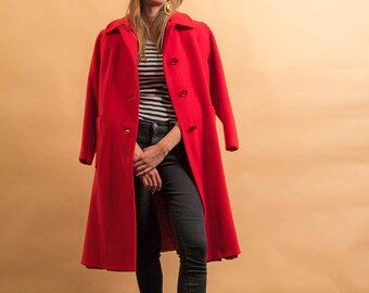 60s Mod Red Coat / 1960s Wool Coat / Heavy Winter Coat / Padded Wool Coat Δ fits sizes: XS/S