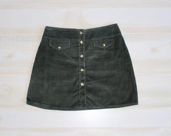 Vintage 90s Corduroy Skirt, 1990s Button Up Skirt, Pockets, Mini, Basic, Minimalist