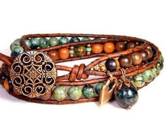 Leather Wrap Bracelet African Turquoise Tiger Kamagong Wood Bracelet Two Row Boho Bracelet Bohemian Jewelry BB44
