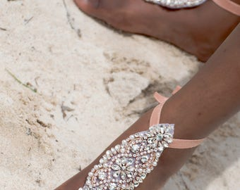Bridal Barefoot Sandals- Rhinestone Foot Jewelry- Beach Wedding Barefoot Sandals- Bridesmaid Gift- Wedding Sandals- Boho Glam Wedding- MCC