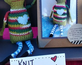 BEWARE! Knit your own Zombie Zach Kit DIY with pattern and knitting needles, yarn, felt, eyes, etc! Great different knitter gift