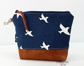 AVA Medium Clutch - Blue Birds with PU Leather READY to SHIp Cosmetic bag Travel Make Up Zipper Pouch