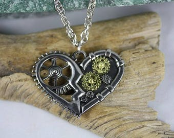 Mixed Metal Heart Necklace - Item 1961