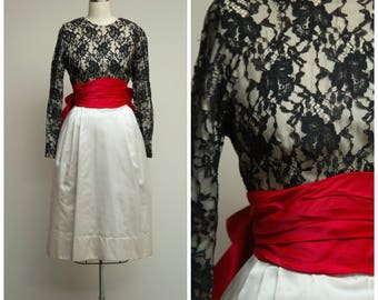 Vintage 1950s Dress • Someone New • Black Lace and White Satin 50s Party Dress by Designer Gigi Young Size XSmall