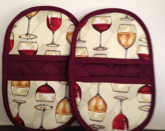 Mini-Microwave Mitts-Pinchers-Vintage Wine Glasses w/Burgundy Trim-Free Shipping
