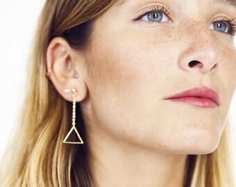 Gold Chain Triangle Earrings