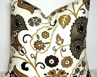 INVENTORY REDUCTION Brown Charcoal Gold Ivory Floral Pattern Upholstery Pillow Cover Couch Cushion 18x18