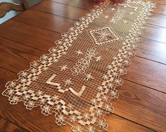 French Lace Runner Vintage Table Runner Dresser Scarf