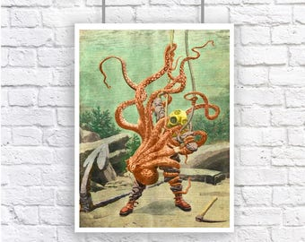 Diver Battles Octopus Deep Sea Diver Large Nautical Vintage Style Print Set Beach House Decor