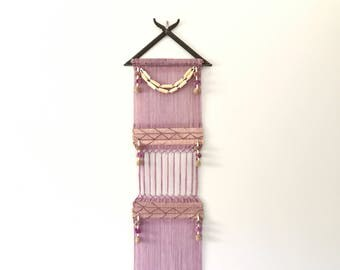 Long Vintage Textile Art Wall Hanging - Woven Lilac / Lavender Wool, Beads