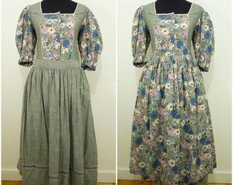 Bohemian VINTAGE Bavarian DIRNDL Grey Pink Flower Folk Dress & Apron UK12 FR40 Oktoberfest / Tyrol / Austrian / German /Trachten / Victorian