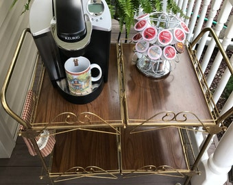 Vintage Bar Cart with Removable Trays, Folding Bar Cart, Coffee Serving Bar, Serving Cart, Tea Cart, Rolling Cocktail Cart, FREE SHIPPING!