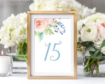 Reception Table Numbers - Pink Blooms (Style 13765)