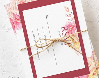 Semi Custom Wedding Invitation Suite - Pink Summer (Style 13634)