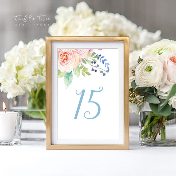 Table Numbers - Pink Blooms (Style 13765)