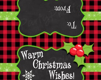INSTANT DOWNLOAD - Warm Christmas Wishes - Chalkboard Treat Bag Toppers - Buffalo Plaid -Merry Christmas - Happy Holidays