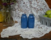 Vintage English Blue Denby Ceramic Salt & Pepper Shakers S and P