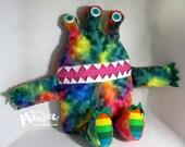 Cuddle Monster Pillow, Rainbow Rainbow monster, Rainbow bedtime buddy, zipper mouth pajama eater, Rainbow pillow, nightmare eater