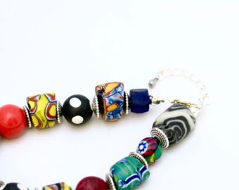 Beautiful Multi-Colored African Trade Bead bracelet with handmade millefiori clay beads, bracelet, ethnic, tribal, travel inspired